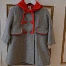 Coat Grey And Red With Bonnet