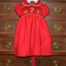 Red Dress Hand Smocked And Embroidered