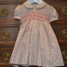 Pink Flowery Hand Smoked And Embroidered Dress