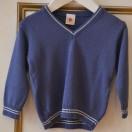 V Neck Jumper In Blue- White